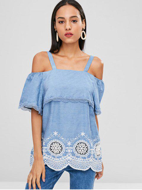 online Crochet Cold Shoulder Tunic - SKY BLUE 2XL Mobile
