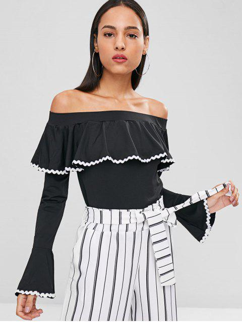 outfit Flounce Off The Shoulder Top - BLACK L Mobile