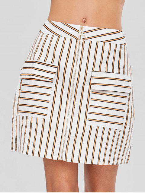 trendy Front Zip Striped Skirt - WHITE XL Mobile