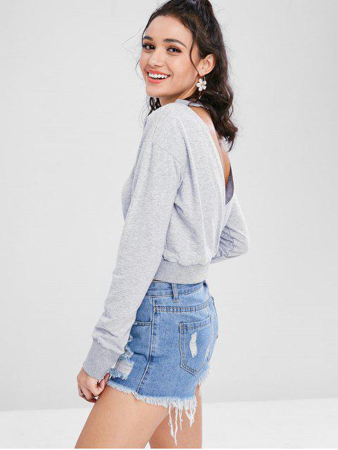 women's Cut Out Cropped Sweatshirt - LIGHT GRAY L Mobile