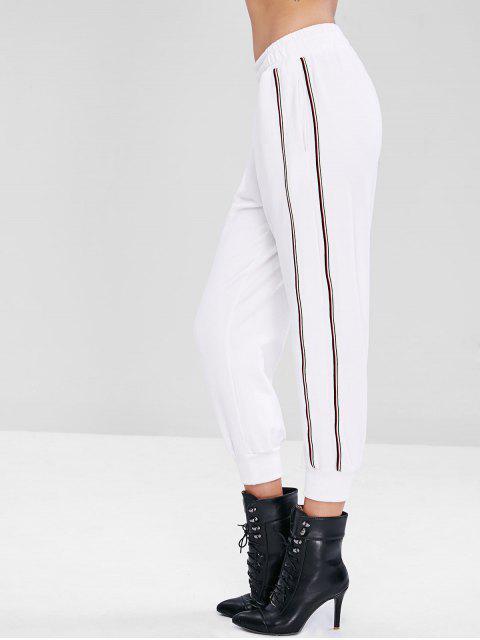 Pantalones deportivos rayas panel noveno - Blanco M Mobile
