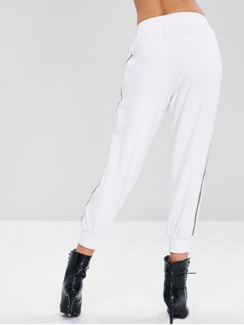 best Sporty Striped Panel Ninth Pants - WHITE L Mobile