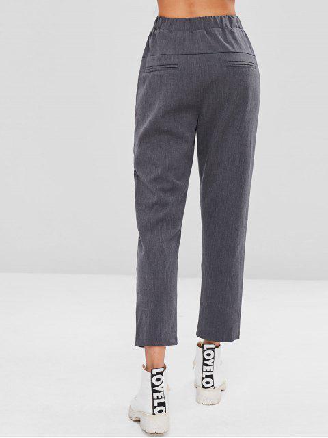 巾着ストレートパンツ - 暗灰色 L Mobile