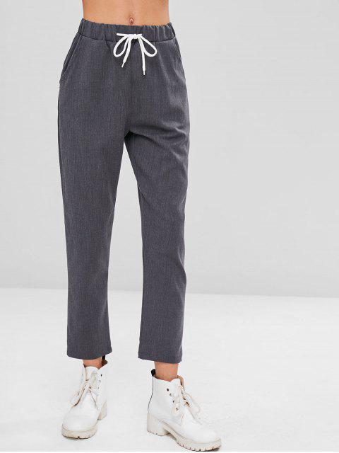 new Drawstring Straight Pants - DARK GRAY L Mobile