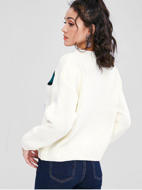チェリージャガードグラフィック大きいサイズセーター - 白 L Mobile