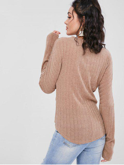 sale ZAFUL Ribbed Button Through V Neck Cardigan - BROWN L Mobile