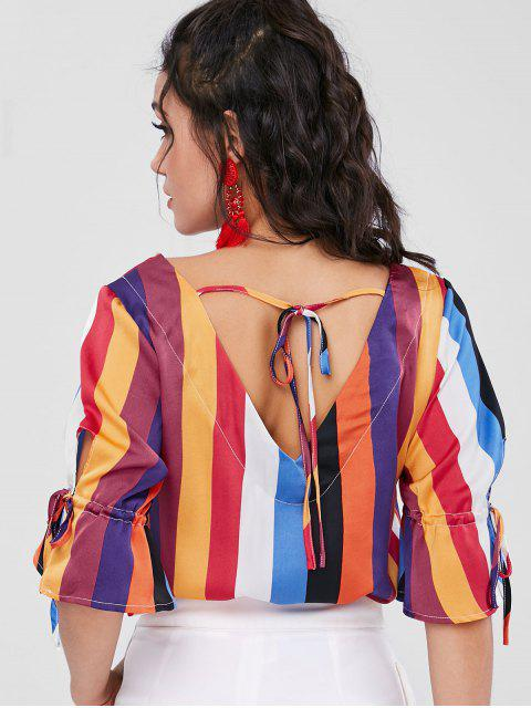 outfits Colorful Striped Flare Sleeve Blouse - MULTI XL Mobile