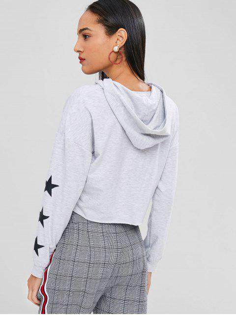 trendy Star Print Graphic Crop Boxy Hoodie - LIGHT GRAY XL Mobile