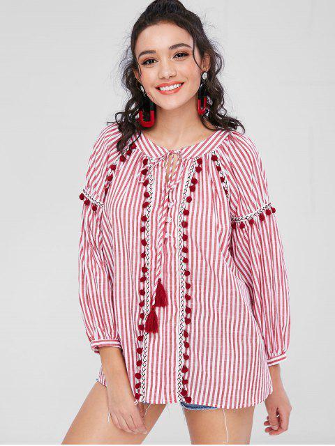 fancy Long Sleeve Striped Pom Pom Smock Top - RED XS Mobile