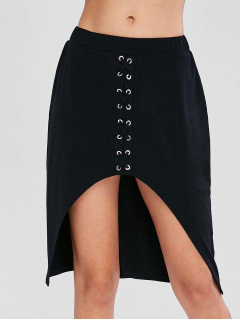 womens Criss Cross High Low Skirt - BLACK S Mobile