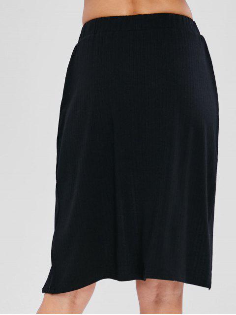 fashion Criss Cross High Low Skirt - BLACK M Mobile