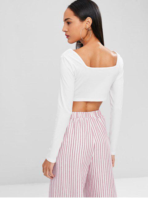 affordable V Neck Twist Short T-shirt - WHITE XL Mobile