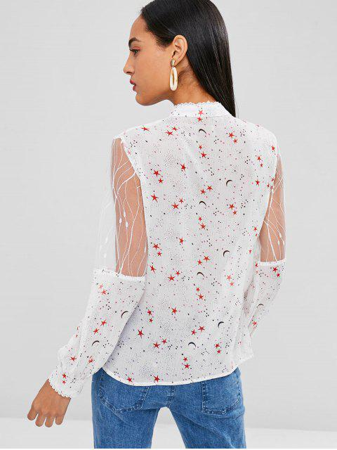 outfit Mesh See Thru Stars Print Blouse - WHITE L Mobile