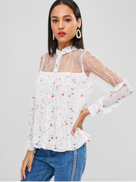 outfits Mesh See Thru Stars Print Blouse - WHITE XL Mobile