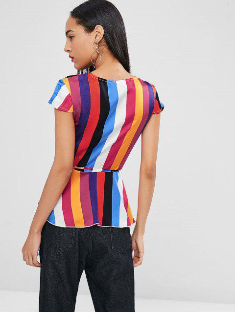 lady Wrap Colorful Striped Blouse - MULTI XL Mobile