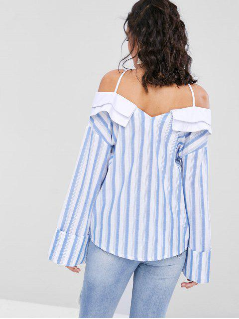 new Striped Cross Strap Casual Blouse - LIGHT SKY BLUE XL Mobile