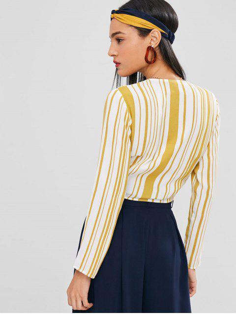 shop Plunging Stripe Knot Blouse - SUN YELLOW XL Mobile