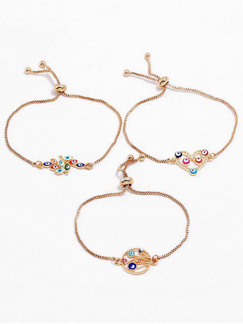 lady Hollow Heart Eye Design Bracelets Set - GOLD  Mobile