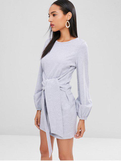 buy Mini Front Knot Long Sleeve Dress - LIGHT GRAY XL Mobile