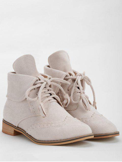 women's Chic Lace Up Wingtip Ankle Boots - BEIGE 38 Mobile