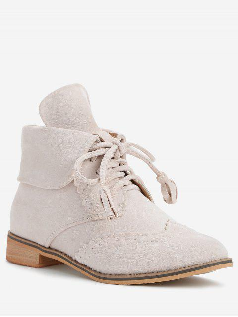 ladies Chic Lace Up Wingtip Ankle Boots - BEIGE 40 Mobile