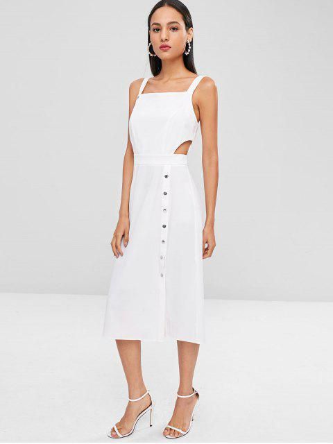 womens Midi Backless Cut Out Casual Dress - WHITE L Mobile