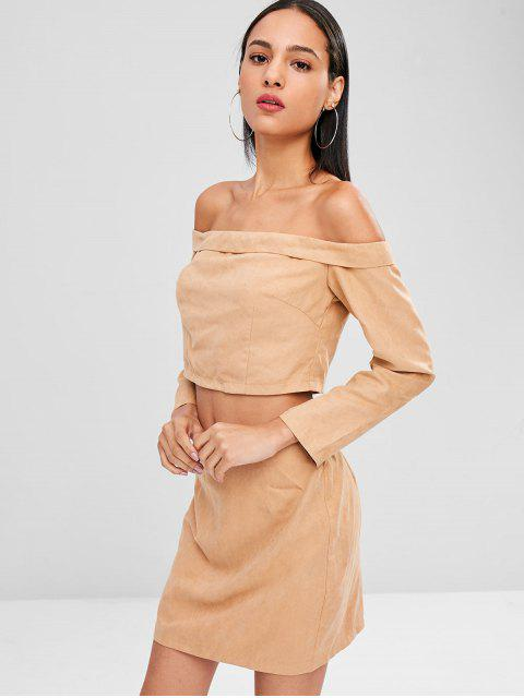 womens Off Shoulder Crop Top and Skirt Set - CAMEL BROWN L Mobile