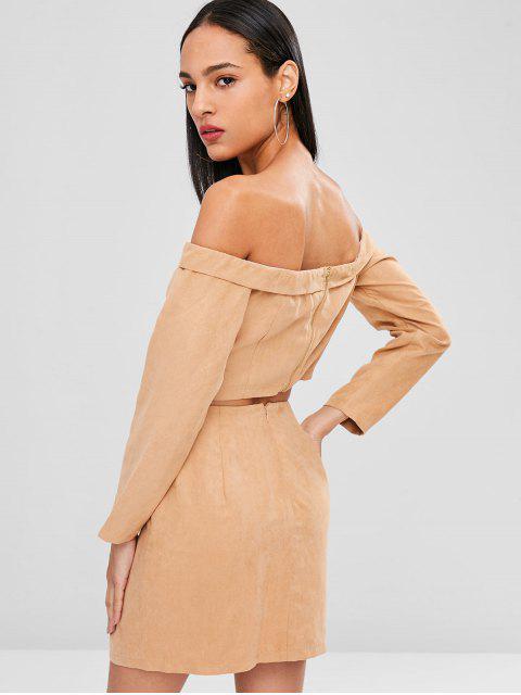 women Off Shoulder Crop Top and Skirt Set - CAMEL BROWN XL Mobile