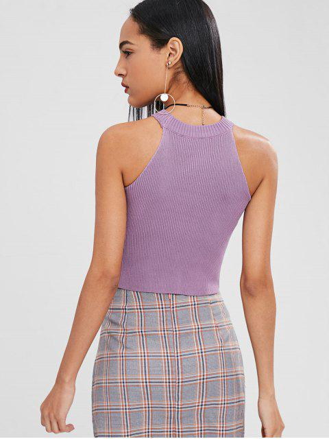 fancy Graphic Embroidered Knit Tank Top - MAUVE ONE SIZE Mobile