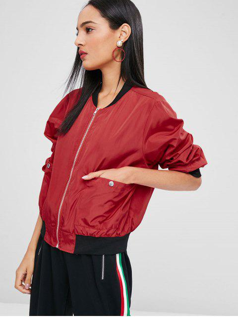 hot Letter Patch Bomber Jacket - RED S Mobile