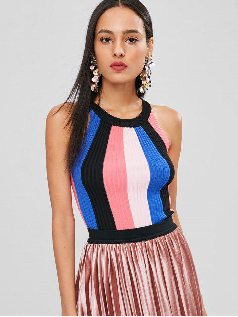 affordable Stripe Sleeveless Sweater - MULTI ONE SIZE Mobile