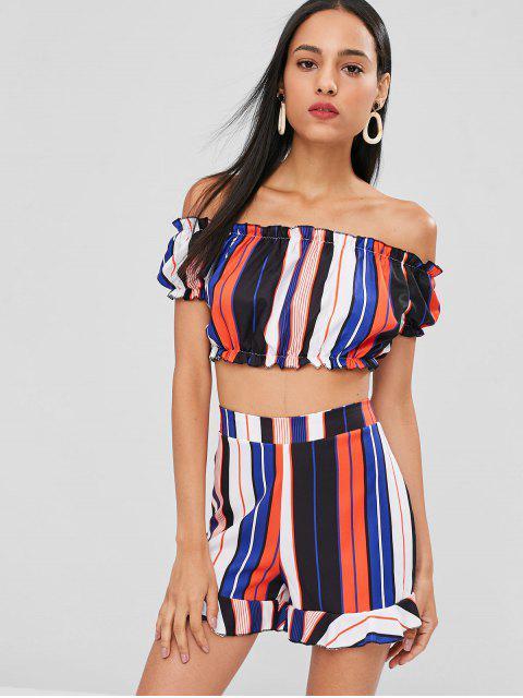 best Striped Ruffle Shorts Set - MULTI S Mobile