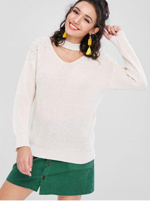 chic Beading Keyhole Sweater - WARM WHITE L Mobile