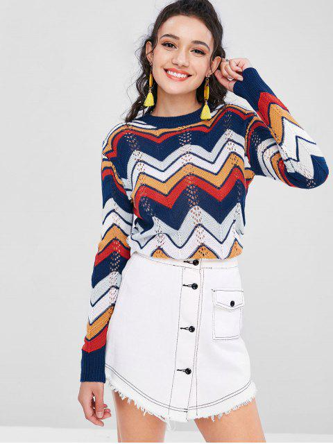 sale Hollow Out Zigzag Knitted Top - MULTI S Mobile
