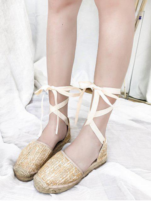 chic Espadrille Leisure Straw Lace Up Sandals - APRICOT 38 Mobile