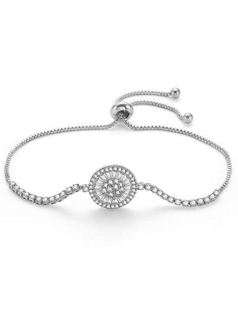 Einstellbare Runde Blume Printed Strass Armband - Silber  Mobile