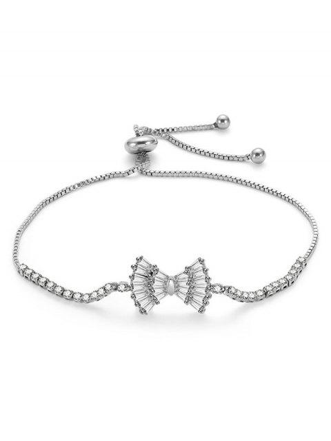 outfits Bowknot Design Rhinestone Adjustable Bracelet - SILVER  Mobile