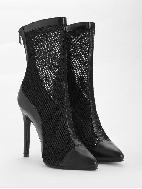 fancy Pointed Toe High Heel Fashion Boots - BLACK 39 Mobile