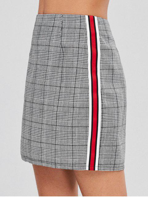 online ZAFUL Mini Contrast Plaid High Waisted Skirt - GRAY XL Mobile