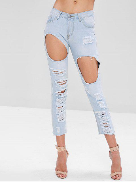 chic Raw Hem Distressed Jeans - ALICE BLUE XL Mobile