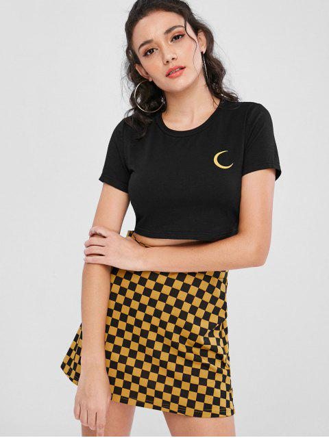 womens Crop Tee and Mini Plaid Skirt Set - BLACK XL Mobile