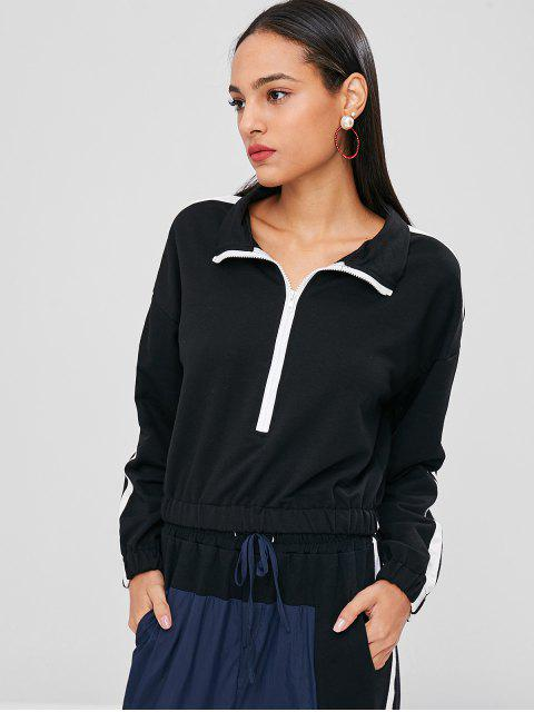 ladies Contrast Trim Double Striped Sweatshirt - BLACK XL Mobile