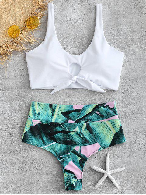 unique Palm Knotted High Waisted Bikini Set - WHITE L Mobile
