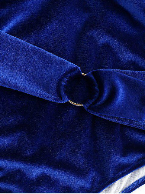 Traje de baño de terciopelo de corte alto sin respaldo - Azul Oscuro de Denim S Mobile