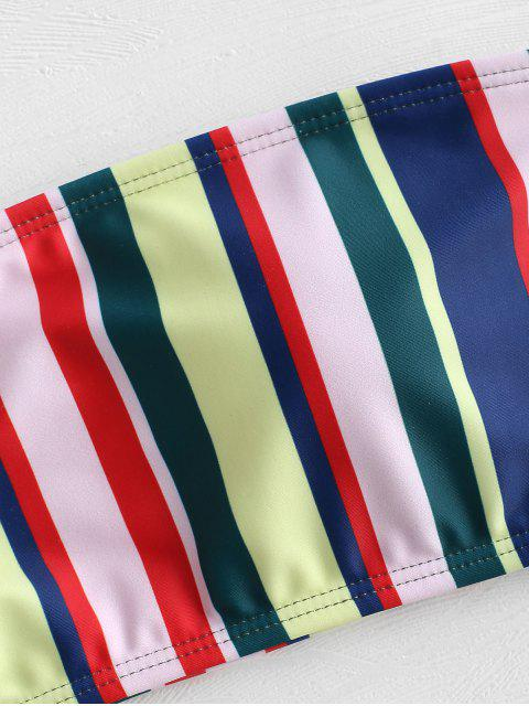womens Colored Striped Bandeau Bikini Set - MULTI L Mobile