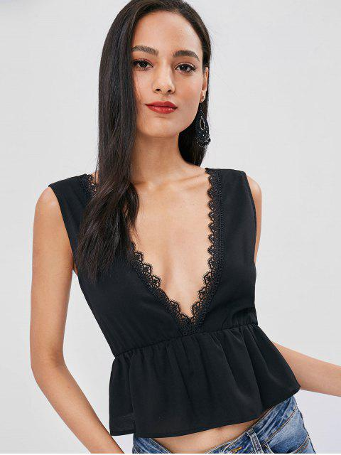 chic Plunging Neck Lacework Tank Top - BLACK M Mobile