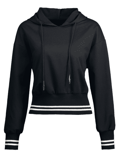 Two Tone Double Striped Hoodie, Black