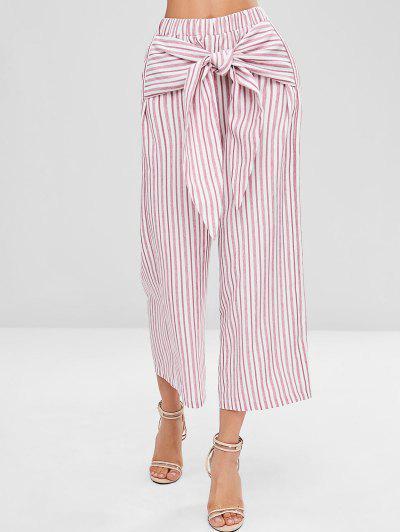 a8b34c2be17 Knot Striped Wide Leg Pants - Pig Pink L