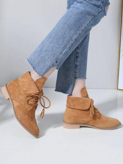 Chic Lace Up Wingtip Ankle Boots - Light Brown 39