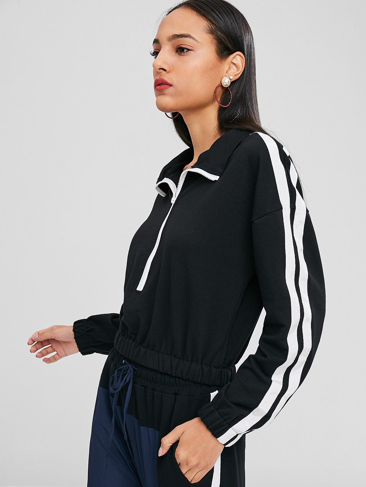 Contrast Trim Double Striped Sweatshirt